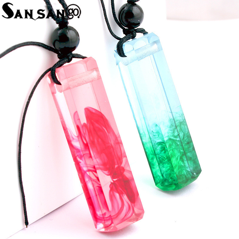 New Design Solidification Time Resin Ink Painting Pendant Necklace Woman Girls Long Rope Sweater Necklace Jewelry Gift