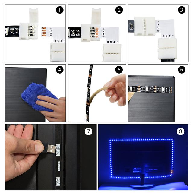 DIY 5V USB LED Under Cabinet light 1M 2M 3M RGB Flexible LED Tape lamp TV Backlight PC HDTV Background Bias Decoration lighting