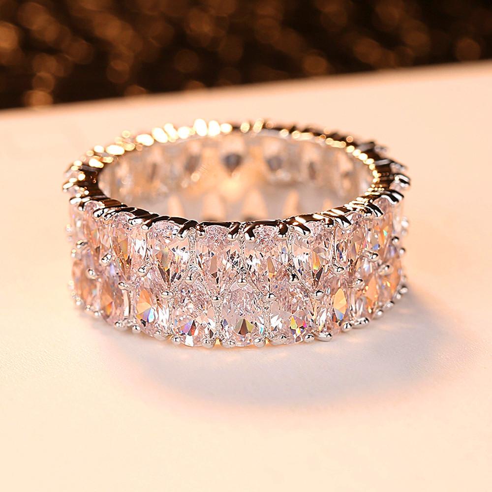 Boho Female Big Crystal Zircon Stone Ring Luxury Fashion Silver Color Love Engagement Ring Vintage Wedding Rings For Women