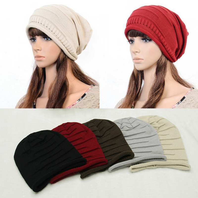 2017 Fashion Women Ladies Unisex Winter Knit Plicate Slouch Cap Hat Knitted Skullies Beanies Casual Ski 5 colors Free Ship hot winter beanie knit crochet ski hat plicate baggy oversized slouch unisex cap