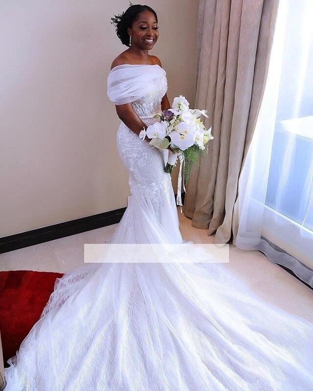 Lace Vestido De Noiva 2019 Muslim Wedding Dresses Mermaid Short Sleeves Appliques Boho Dubai Arabic Wedding Gown Bridal Dresses