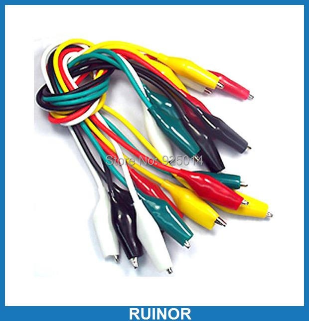 ФОТО 50PCS 5 Color Alligator Clip TO Alligator for Power supply Test Probe Cables