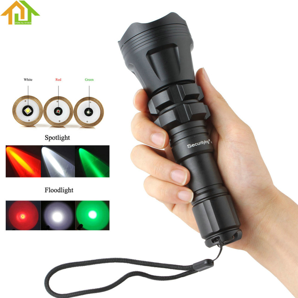 SecurityIng Red / Green / White Hunting LED Flashlight Torch XM-L2 U4 LED 5 Mode Zoomable Waterproof Flash Light + Remote Switch mini torch rechargeable waterproof 2 mode white led flashlight green
