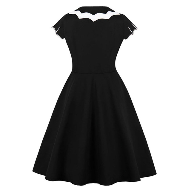 Women Vintage Gothic Summer Plus Size Dress Black Bat Embroidery Hollow-Out Color Block Peter Pan Collar Retro Halloween Dresses 1