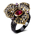DC1989 Women Big Punk Rings Amethyst &Siam Cubic Zirconia Bezel Setting  Gold & Black Plated
