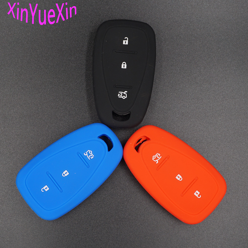 Xinyuexin Silicone Car Key Cover FOB Case For Chevrolet Cruze Spark Onix Volt Aveo Sonic Smart Remote Key Case Jacket