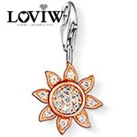 2017 Women style Rose Gold Sun Pendants, Silver Club Charm Fit Necklace&Bracelet, Fashionable LOVIW Gift