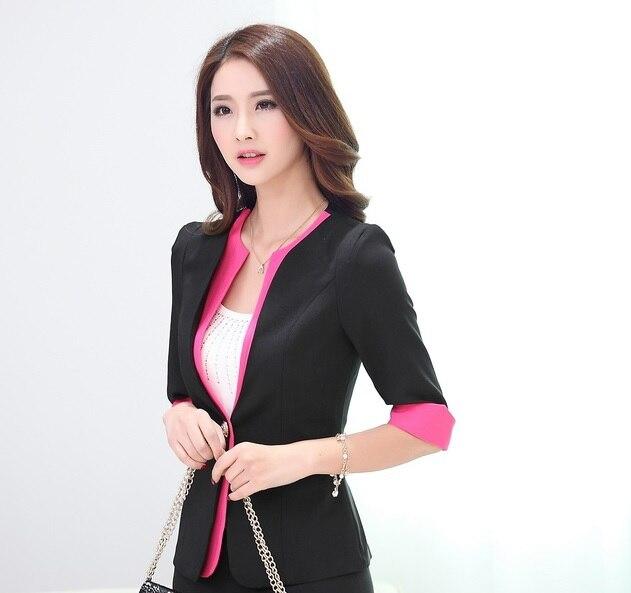 Новинка синий сезон: весна-лето бизнес женский пиджак пальто Топы корректирующие куртки пиджаки для женщин Feminino женские офисные Blaser верхняя одежда - Цвет: Black
