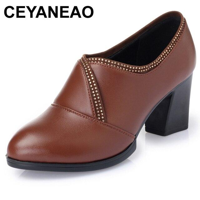 CEYANEAO2019 mùa thu thường dày với single miệng sâu giày chính hãng kinh doanh da váy giày phụ nữ, miễn phí shippingE1909