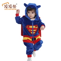 2016 Hot Sale Winter Baby Clothes Cotton Flannel Lining Quilted Cartoon Animal Rompers Baby Clothing