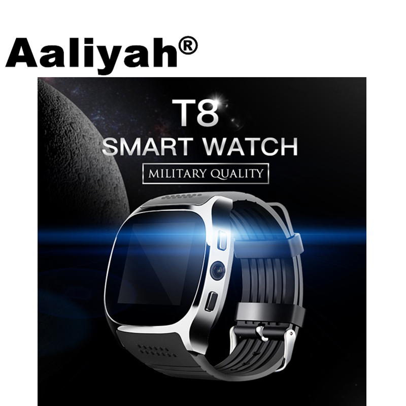 Aaliyah T8 Bluetooth Astuto Della Vigilanza Con La Macchina Fotografica del Giocatore di Musica di Facebook Whatsapp Sync SMS SIM carta di Tf di Sostegno Smartwatch Per Android