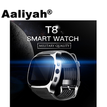 Aaliyah T8 Bluetooth Smart Watch With Camera Music Player Facebook Whatsapp Sync SMS Smartwatch Support SIM TF Card For Android(China)