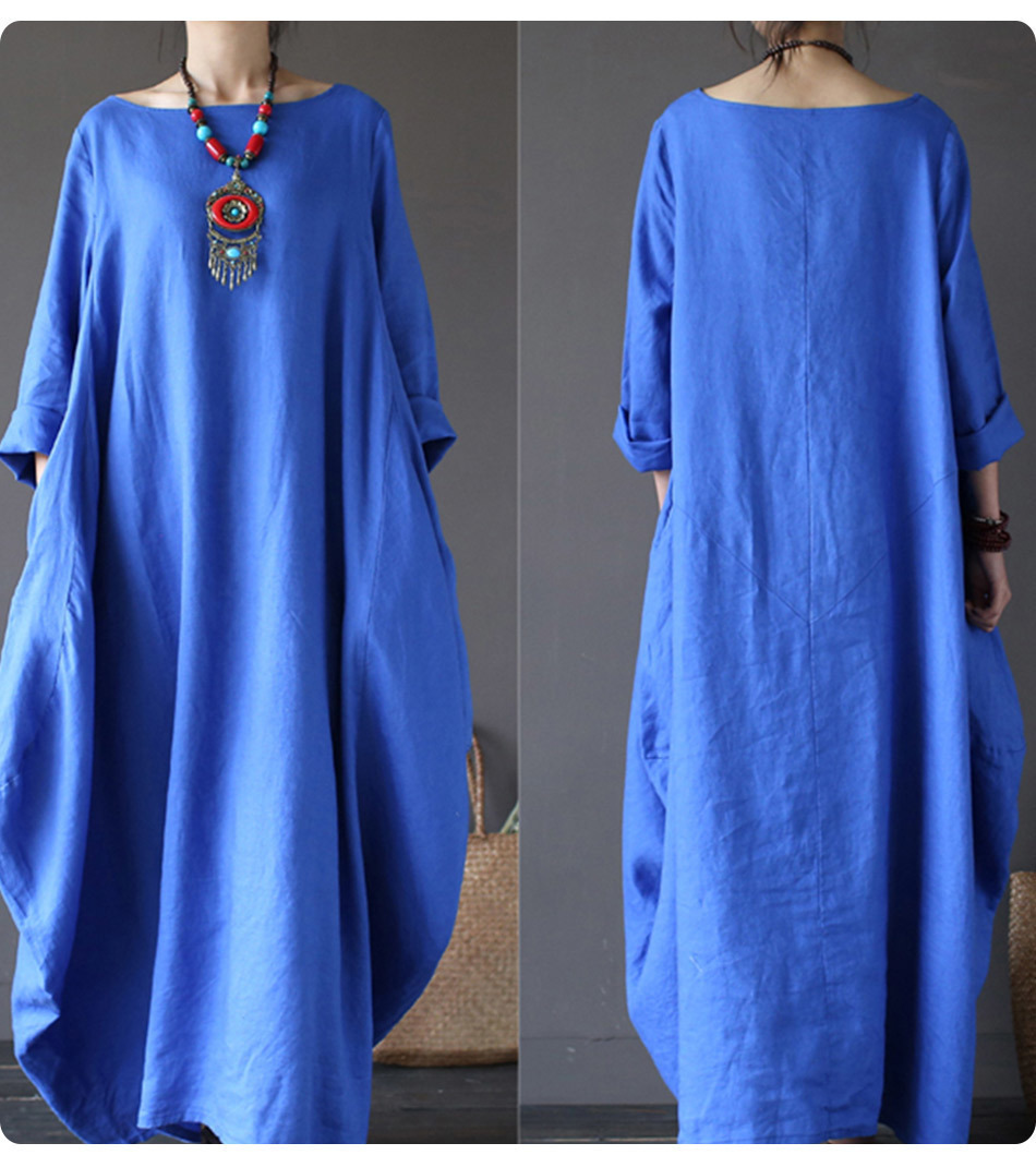 Kaftan Womens Maxi Dress Summer O Neck Long Sleeve Spring Cotton Linen Gown Robe Dresses Plus Size Large Size Dresses 14
