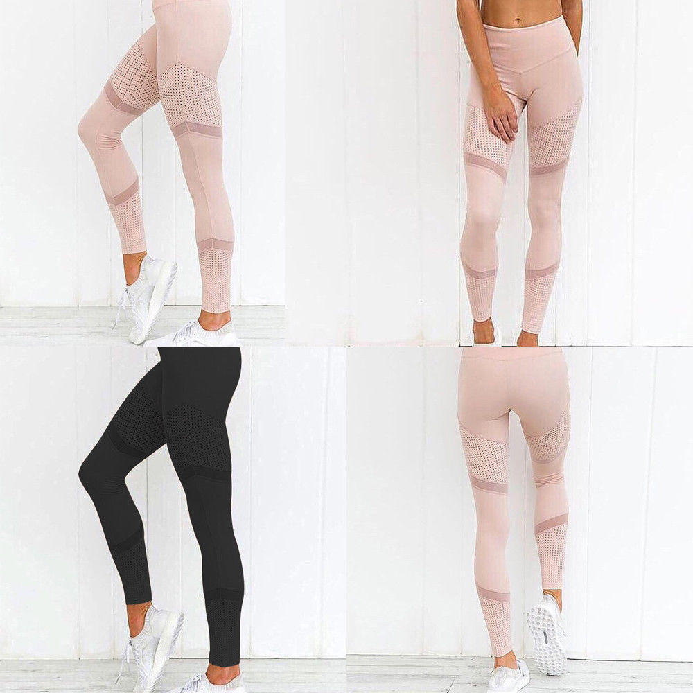 Women Mesh Patchwork Pants High Waist Elastic Fitness Slimming Women Casual Sport Leggings Pink/Black