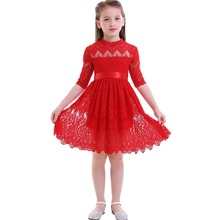 Elegant Girls Dress Baby Kids Princess Dress for Birthday Party Wedding Bridesmaid Dress Red Lace Pleated Kids Dresses for Girls 2017 new luxury sweet jacquard lace girls princess long sleeves dresses for wedding birthday party spring kids white color dress