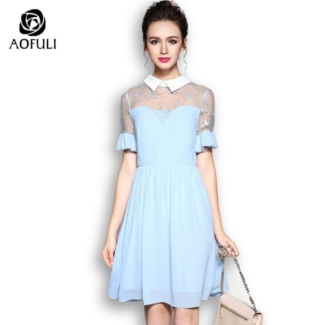 AOFULI S- XXXXL 5XL Sexy Summer Party Dress Big size Flare Sleeve Lace  Sundress 2018 Slim Pleated Dress For Dinner birthday 5579 74281dc6d409