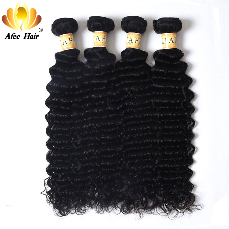 Aliafee Hair 4 Bundles Deal Deep Wave Brasilian Hair Wave Bundles - Menneskelig hår (for svart)