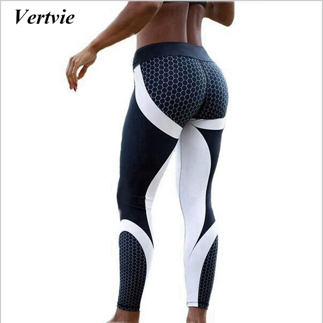 Vertvie Honeycomb Printed Women Yoga Pants Push Up Fitness Leggings For Yoga Running Gym Sport Leggings Tight Trouser Leggins