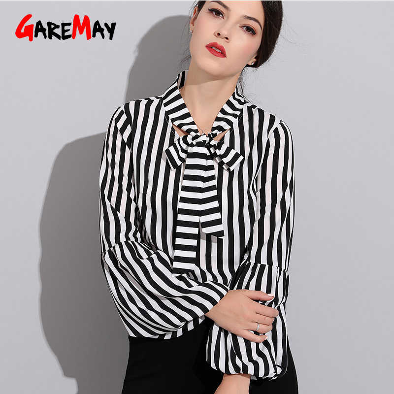 df2272afb Negro Blanco rayas camisas otoño arco Oficina blusas Oficina blusa mujeres  manga larga Casual Tops blusa