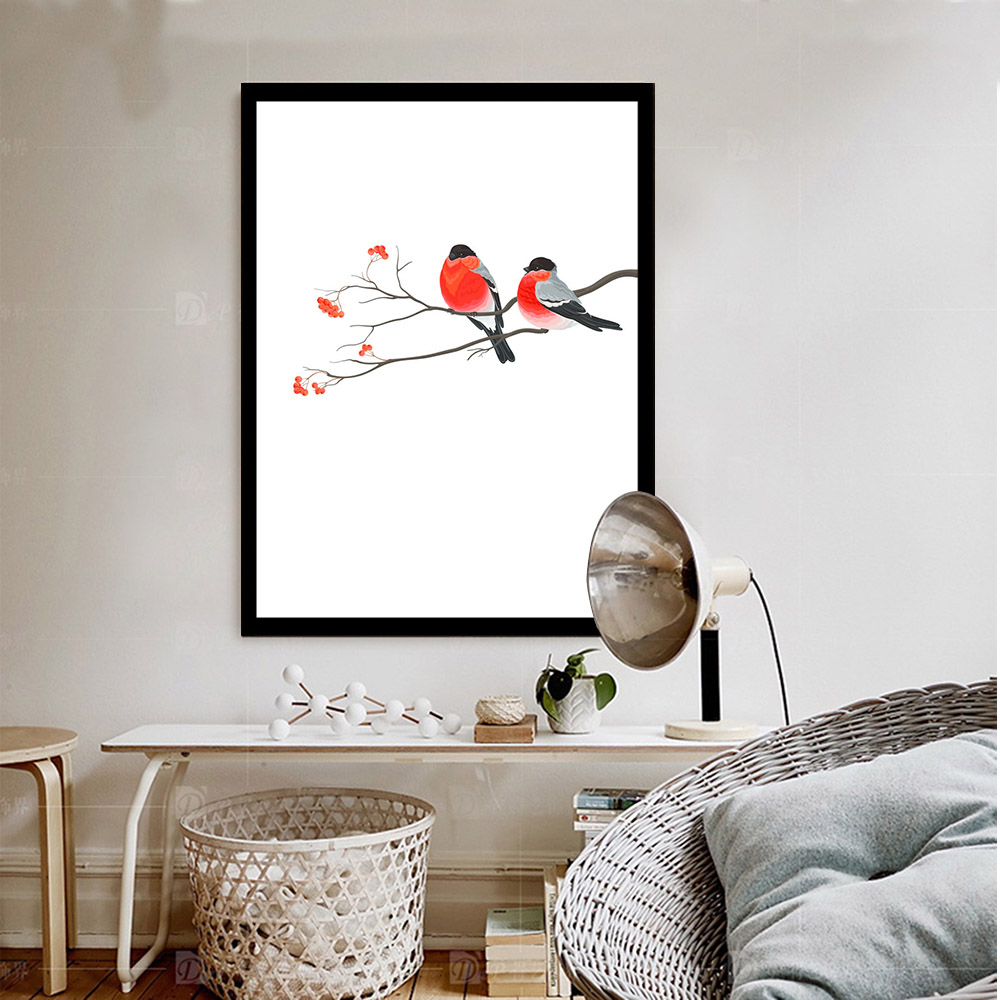 Big Canvas Art Modern Watercolor Abstract Ink Splash Big: Birds And Flower Minimalist Art Canvas Poster Print