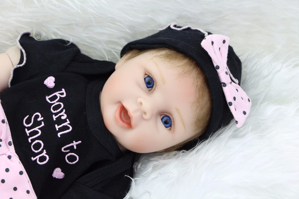 KEIUMI 22'' Soft Silicone Reborn Dolls Babies Real Like Smile Kids Playmate PP Cotton Body 55cm Bebes Reborn Menina Child Gift