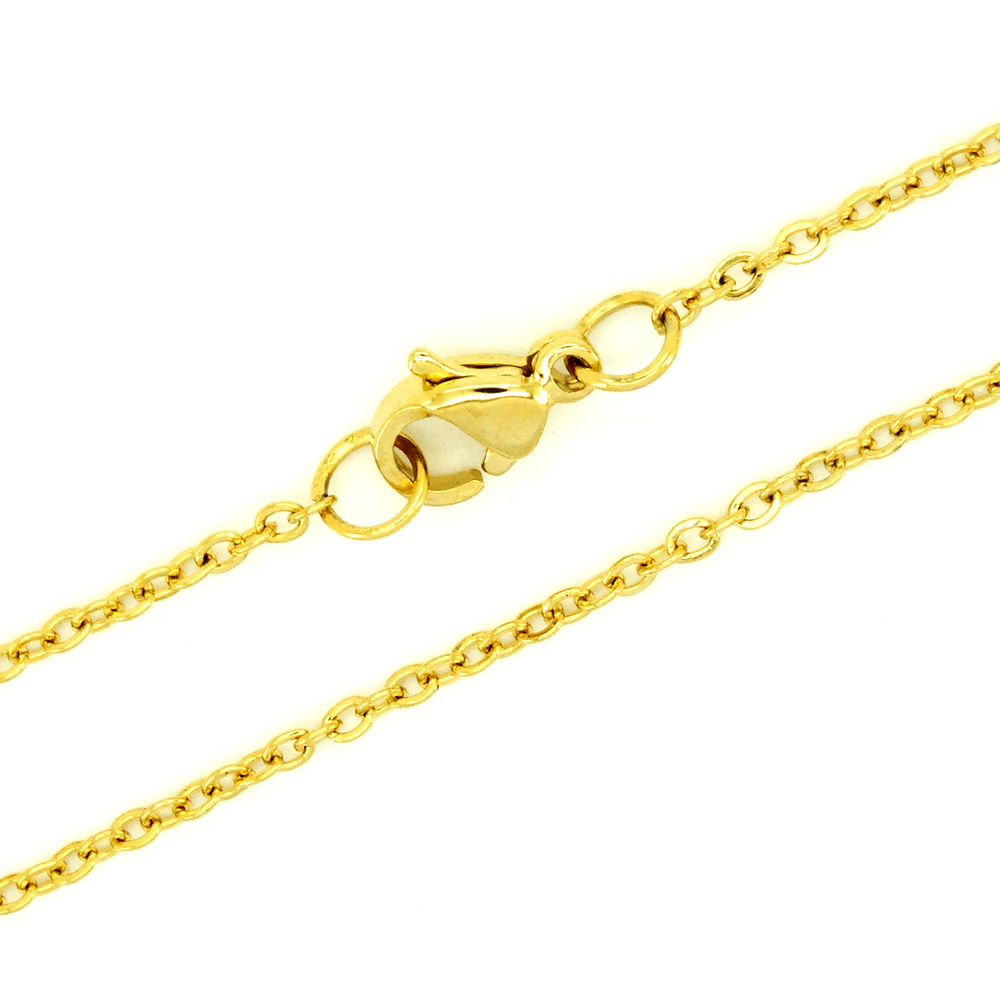 High Quality Plated Gold Necklace Stainless Steel 1 mm 10 36 Inches Women Fashion Jewelry Link