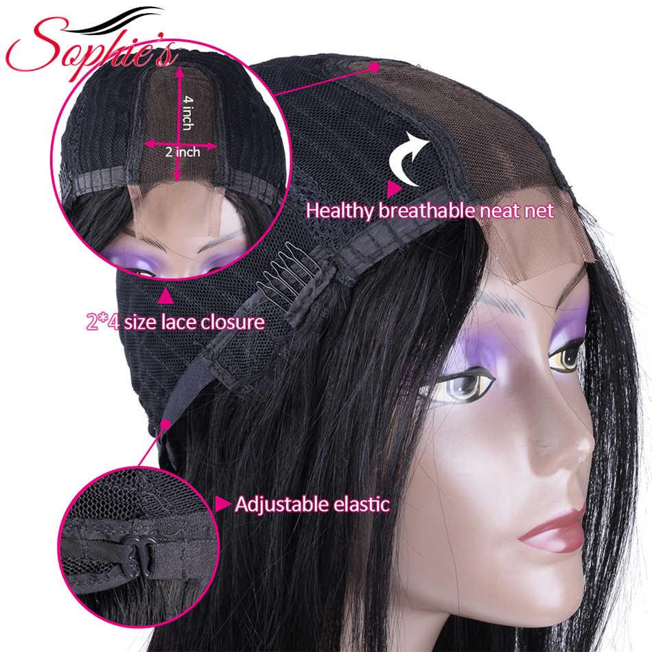 Peluca brasileña recta 2*4 parte media del cordón Peluca de pelo humano pelucas no Remy con pelo de bebé Color Natural Pre desplumado