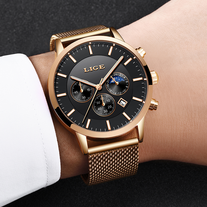 2019 New LIGE Mens Watches Top Brand Luxury Business Watch Sports Waterproof Quartz Clock Fashion Moon Phase Gold Watch For Men