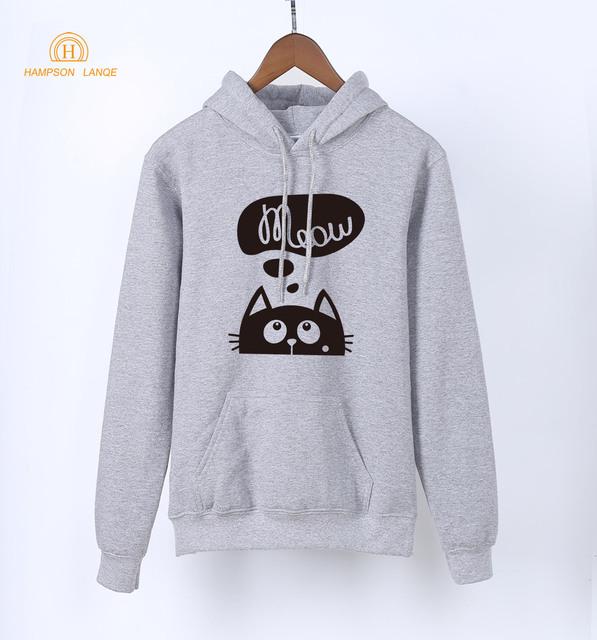 2018 Spring Sweatshirts Women Anime Meow Kawaii Cat Print Women's Hoodies Autumn Long Sleeve Pullovers Warm Fleece K-pop Hoody