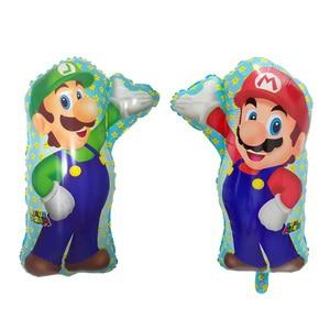 Image 1 - 50pcs 68*44CM Super Mario Balloon party Classic Toys Mario Bros Mylar foil Balloons super hero Birthday Party Decoration Balls