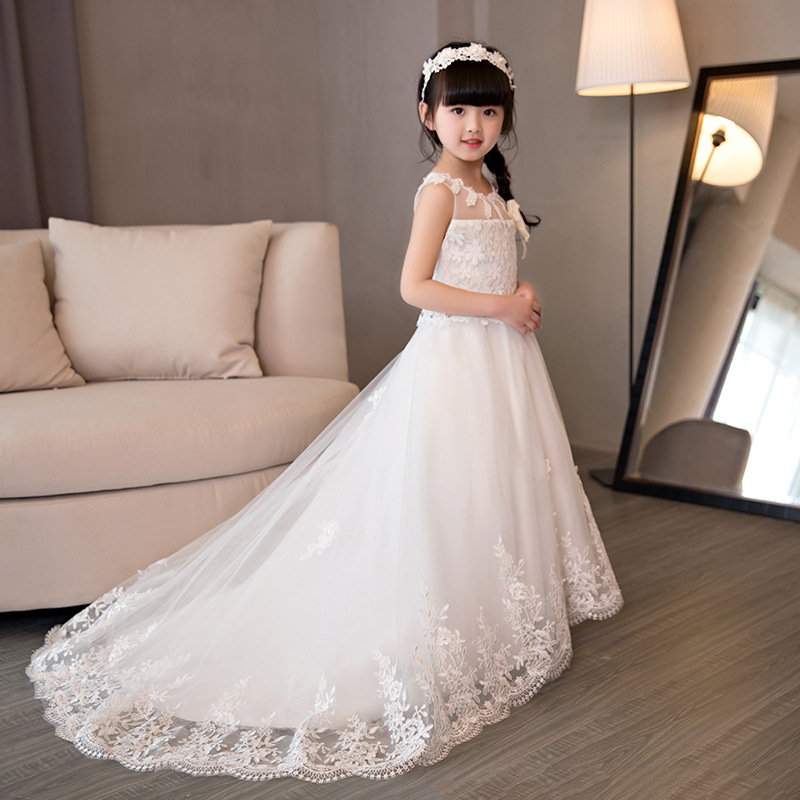 Cute European And American Style Girls Dress Fashion Lace Cotton Princess Dress Brief Cotton Girls Dresses For Party And Wedding european and american fashion girls cotton dress summer girl party princess dress pleated polka dot kids dresses for girls 5 12y