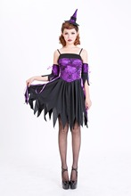 Ensen mágico de la bruja de halloween cosplay sexy dress adultos señora vestidos negro y violeta tanques moda europea para las mujeres