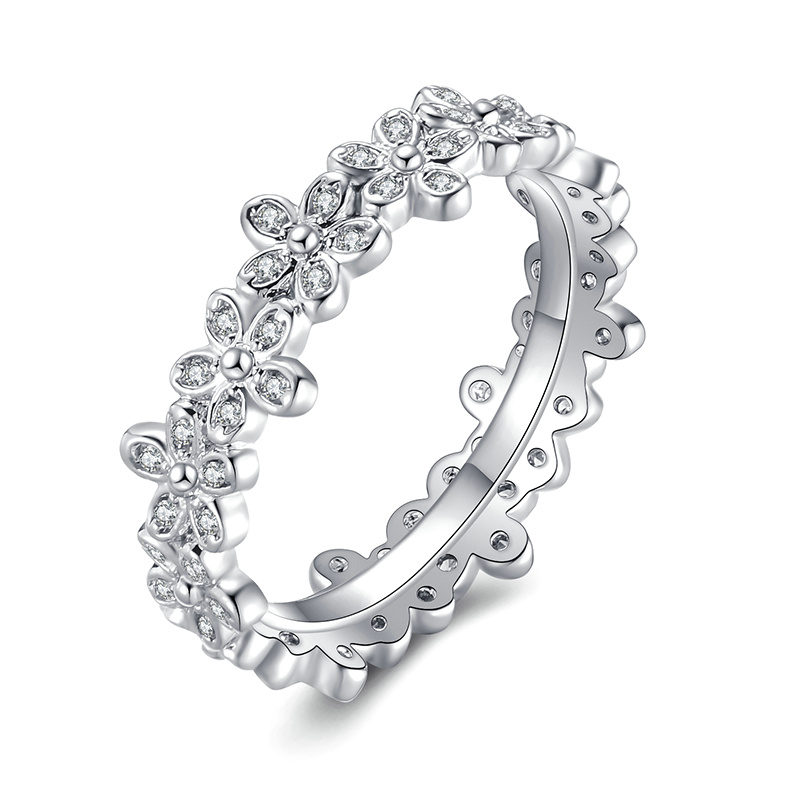 Модное Сверкающее циркониевое серебряное кольцо для женщин, цветочное сердце, корона, кольца на палец, фирменное кольцо, ювелирное изделие, Прямая поставка - Цвет основного камня: 23