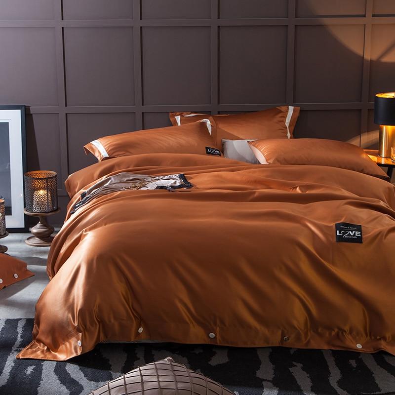 Detingy Washed Silk Printing Bedding Sets Duvet Cover Flat