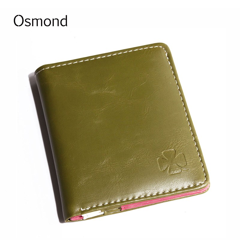 Osmond Women Wallets Leather Short Wallet Mini Coin Purse Lady Purses Slim Money Pouch ID Credit Card Holders For Girls Korean