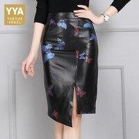 2018 Новое поступление женские юбки Высокое качество кожа Обёрточная бумага юбки модные с цветочным принтом женские Высокая талия Юбки Плюс