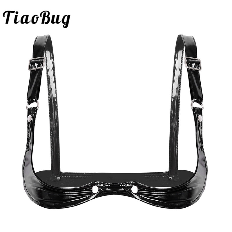 TiaoBug Women Adjustable Spaghetti Straps Open Cup Bra Tops Black Faux Leather Hot Sexy Club Bralette Crop Top Erotic Lingerie
