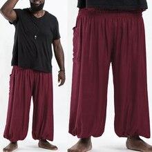 Men New Fashion Hip Hop Wide Leg Pants Nepal/Indian Style Joggers Baggy Pants Men Plus Size Male Casual Loose Harem Trousers 5XL