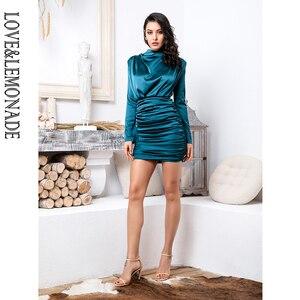 Image 3 - فستان حفلات ضيق من LOVE & LEMONADE ذو ياقة عالية وفضفاض من الجزء العلوي من الجسم مزين بطيات مرن من الحرير الصناعي طراز LM81722