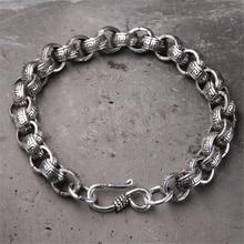 Genuine 925 Sterling Silver Bracelet For Men And Women O Type Chain Vintage Handmade Mens Bracelets 2018 Armbanden Voor Vrouwen