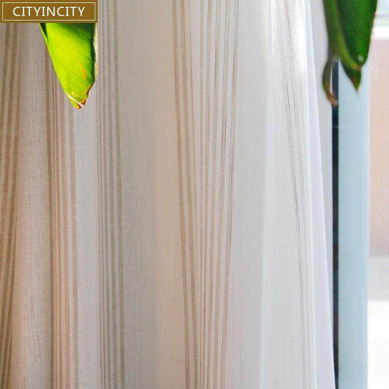 CITYINCITY Voile Cortina Para sala de estar Branca Jacquard Tarja Fresco Sheer Tule Cortinas Para Cozinha e quarto Personalizado