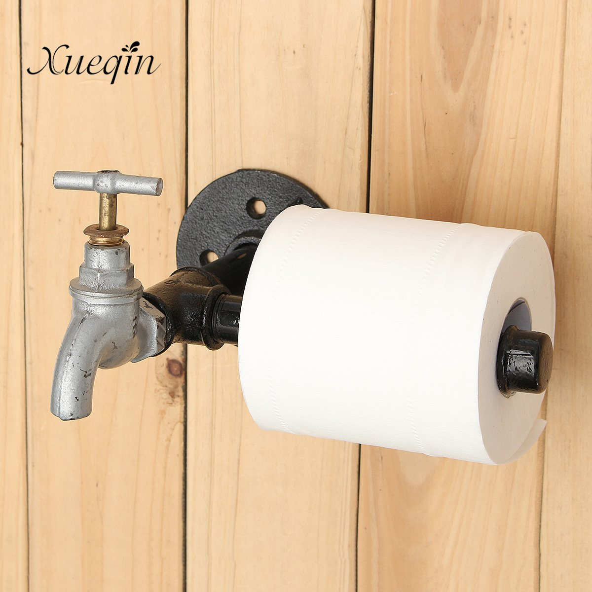 Bathroom Hardware Trustful Xueqin New Industrial Rustic Style Black Iron Pipe Metal Toilet Paper Roll Holder Wall Mounted Home Bathroom Hardware Supplies
