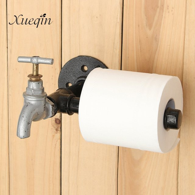 Xueqin Industrial Rustic Style Black Iron Pipe Metal Toilet Paper - Industrial bathroom hardware
