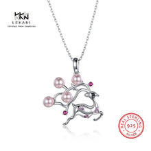 LEKANI Crystals From Swarovski Necklace925 Ssterling Silver Christmas Gift Sika Deer Pendant Necklace Ms. Exquisite Necklac