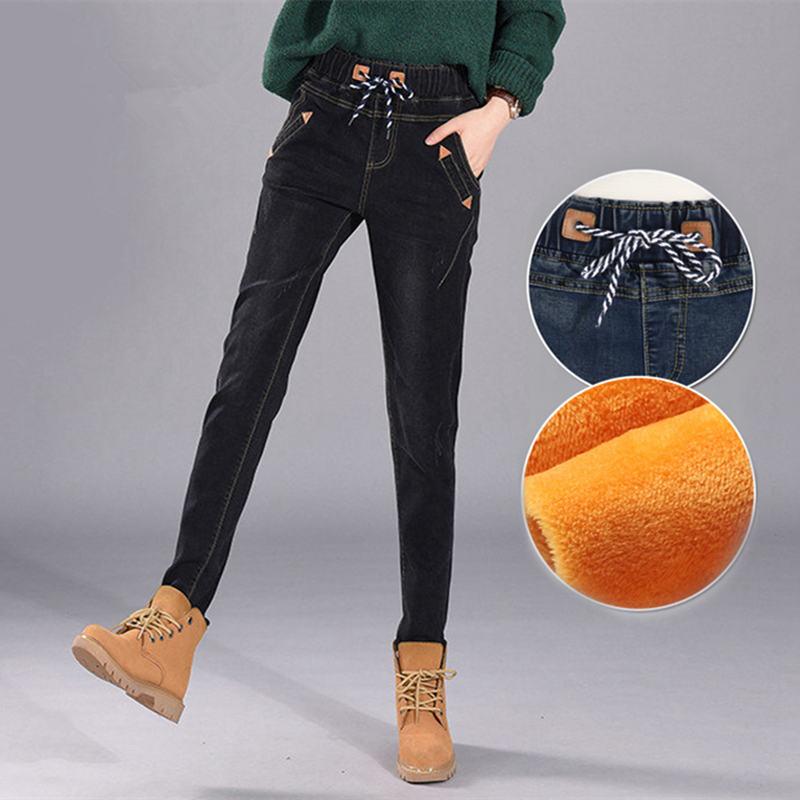 Winter Plus Velvet Elastic Waist Boyfriend   Jeans   For Women Lace Up Warm Casual Harem Pants Women Long Denim   Jeans   Femme C4952