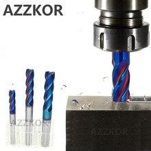 AZZKOR Fresa con recubrimiento de aleación, herramienta de acero de tungsteno, 100L/150L Hrc70, alargadora facial, fresas CNC