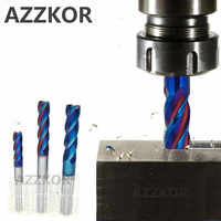AZZKOR Milling Cutter Alloy Coating Tungsten Steel Tool 100L/150L Hrc70 Lengthening Face Mill Endmills Top CNC Milling Cutter