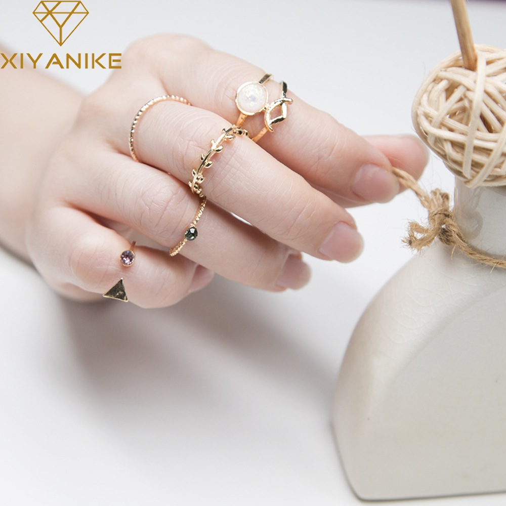 XIYANIKE Hot Sale 5 UNID/SETS Nature Stone Rings Sets Trendy Charm Midi Knuckle Ring Rings For Women Gift Adjustable Opening R44