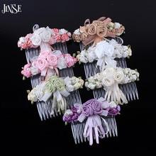 HBS020 Korean elegant hair accessories ribbon flower bow combs hairpin headdress for girl baby
