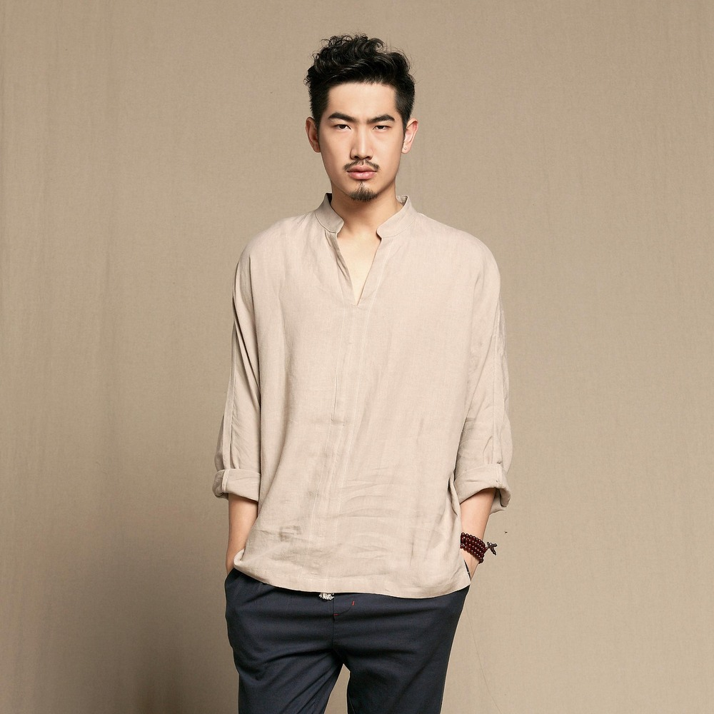 Aaw Cotton Summer Thin Section Material T Shirt Mens Linen Clothes